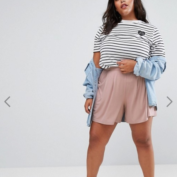 f63b468cc6d ASOS Curve Pants - ASOS CURVE Pleated Culotte Shorts in Nude pink
